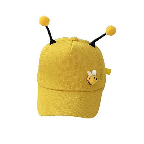 Tonpot Kinder-Baseballmütze, niedliches Tentakel-Design, Sonnenhut, Bienen-Muster, Visier für Babys, Mädchen, Jungen, Sommer, Frühling verstellbar, Baumwolle, gelb, 48-52cm