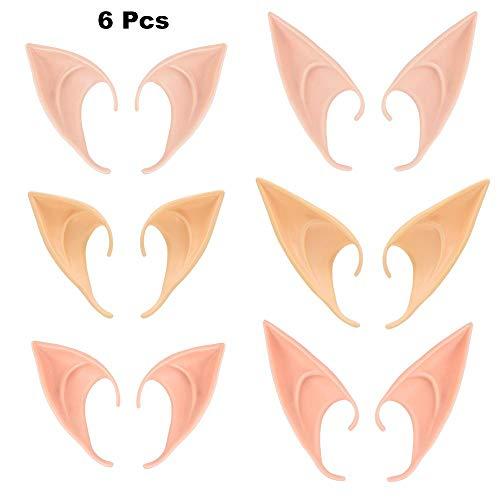 6 Paare Cosplay Fee Pixie Elfenohren, Pixie Dress Up Kostüm Weiche Spitze Goblinohren Cosplay Halloween Party Requisiten Elven Vampire Fairy Ears (6 Pairs/Multicolor) (Paare Cosplay Kostüm)