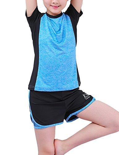 Echinodon Mädchen Sport Set Schnelltrockend Shirt + Shorts Anzug für Yoga Jogging Training Blau