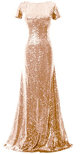 MACloth Mermaid Cap Sleeve Sequin Long Bridesmaid Dress Formal Evening Gown (Custom Size, Rose Gold) (Neck Short Pleated Scoop Top Sleeve)