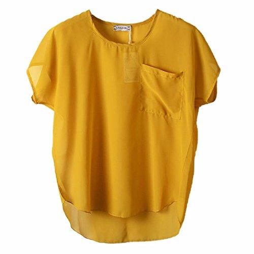 QIYUN.Z Neue Fluegelkurzschlusshuelsenfrauen Chiffon Normallack-Kapuzenpulli T-Shirts Blusen Ginger Leichte Perspective