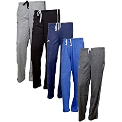 IndiWeaves Women's Premium Cotton Lower with 1 Zipper Pocket and 1 Open Pocket(Pack of 5)_Grey::Blue::Grey::Blue::Grey-38