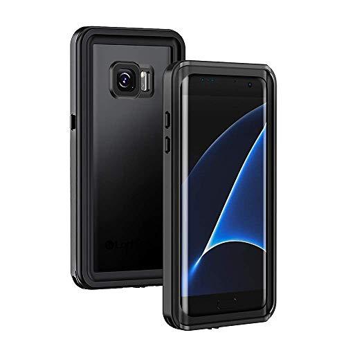 Lanhiem für Samsung Galaxy S7 Edge wasserdichte Hülle, [IP68 Zetrifiziert Wasserdicht] Handy Hülle mit Eingebautem Displayschutz, Stoßfest Staubdicht Schneefest Outdoor Schutzhülle - Schwarz
