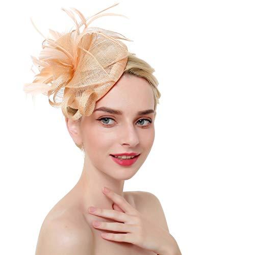 Damenmode Hochzeit Braut Brautjungfer Haarschmuck Mesh Bänder Federn Stirnband Cocktail Tea Party Vintage Hut Headwear ()