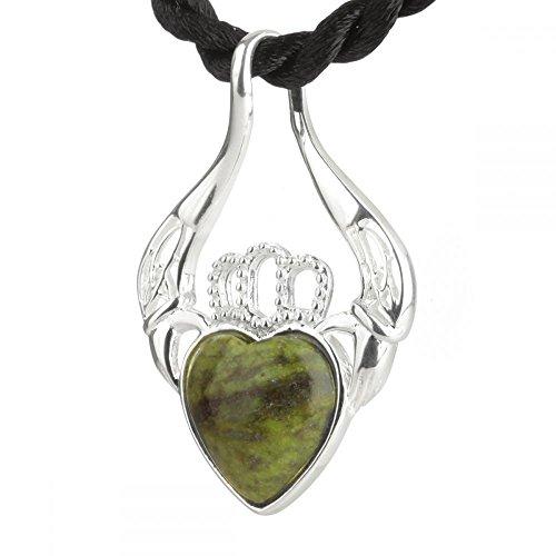 Claddagh Heart - Irische Herz Kette aus Sterling Silber & Connemara Marmor