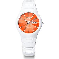 TIME100 Sapphire-Series Calendar White Band Orange Dial Ceramic Watch #W50087M.08A