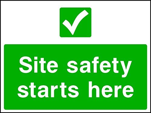 Seite Sicherheit Starts Here Schild Konstruktion Seite Gesundheit und Sicherheit cons0007 30x40