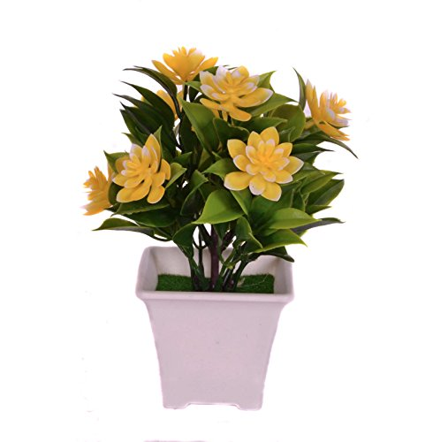 Pindia Artificial Yellow Flower Plant with Pot for Home and Office Decor...