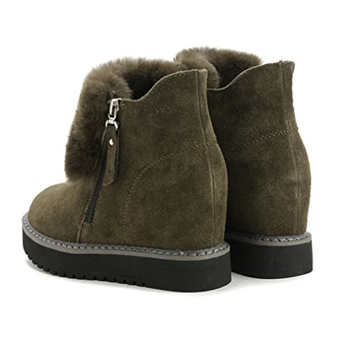 JRenok Boots de Neige Suède et Velours Chaussure Femme Botte à Cheville Chaude et Elégante Bottine d'Hiver Compensée Cachée Plateforme Vert