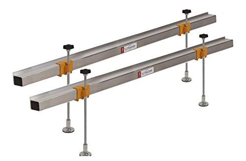 Preisvergleich Produktbild tiletracker 'faststart' Freistehende, vollständig Verstellbare Beine Wand Fliesen Batten unterstützt Set | 2x-1,5m + 4| einsatzbereit in 2Minuten | beschädigen verstecktem Rohre, Kabel & dampproof Membranen | Starke, leichtgewichtige Aluminium | drehbar Füße mit Anti-Rutsch Pads | 300mm Beine | vermeidet Durchhängen Holz Leisten/Gefallen Fliesen | sieht Professionell