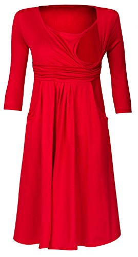 Zeta Ville - Damen Still Kleid Diskretes Stillen Skaterkleid Schwangere - 848c Rot