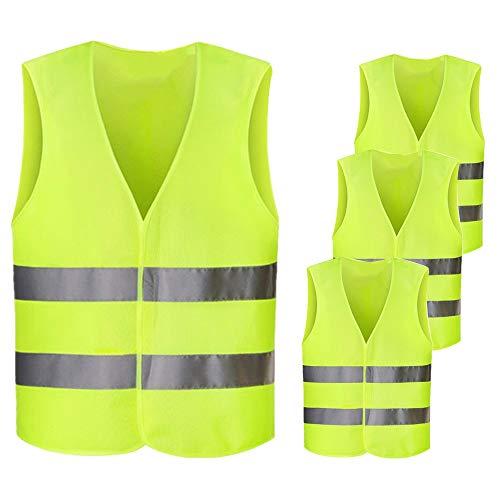 Warnwesten Auto, Netspower 4 Stück Waschbar Warnweste Sicherheitsweste Reflektorweste Pannenweste KFZ Pannenhilfe Warnschutzweste für Unfall Autofahrern Fahrrad Fahrern Arbeitskräften
