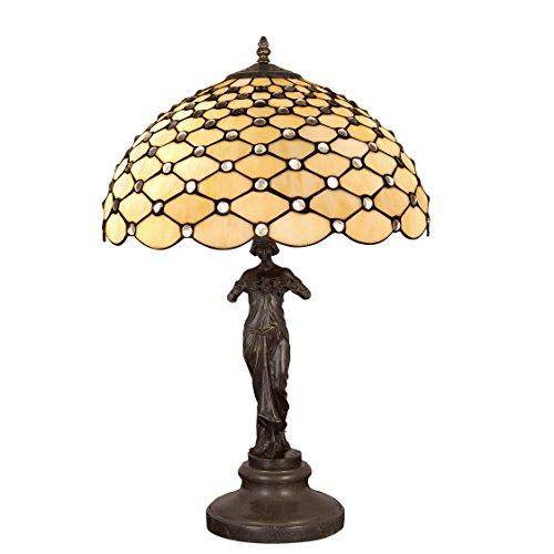World Art TW60504 Tischlampe ei mit edelstein glas im tiffany-stil handwerk, 62x41x41 Cm
