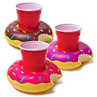 GooPro_zd Inflatable Drink Holder, 3 PCS Shape Drink Holders, 3 Color Doughnut Floating Coasters for Pool Party Water Fun