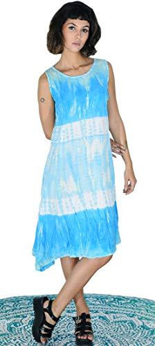 Third Eye Export, Vintage Indische Hippiejeans Look Stone Wash Tie Dye Knielang Tank Kleid Psychedelic Regular Wear Designer Sommer ärmellos Bohemian Frauen Fashion Rayon Kleider X-Large himmelblau