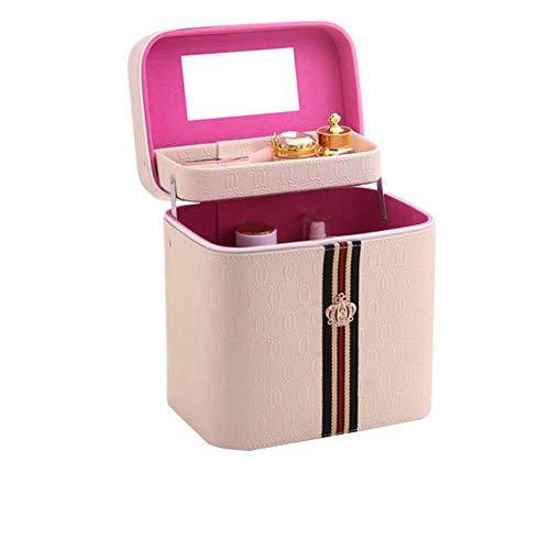 Grande capacité sac cosmétique portable boîte de rangement cosmétique portable,Beige