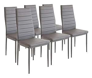 Albatros 2700 milano set di 6 sedie da pranzo grigio - Sedie cucina amazon ...
