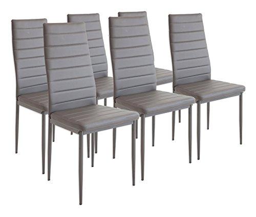 Albatros 2700 milano - set di 6 sedie da pranzo, grigio