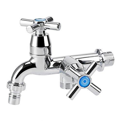 Wasser Wasserhahn Becken Kühler Einhebelmischer, Doppel Auslauf Doppel Schalter für Waschmaschine Küche Spüle Garten, Cross handle (Wasser-kühler Warenkorb)