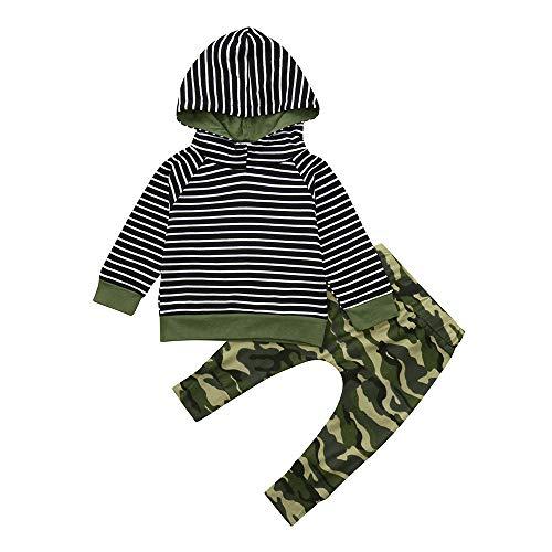 ANSKIRT Kleinkind Infant Baby Outfits Set Jungen Mädchen gestreift mit Kapuze Oberteile Pullover + Hosen Outfits Set 0-3 Alter ()