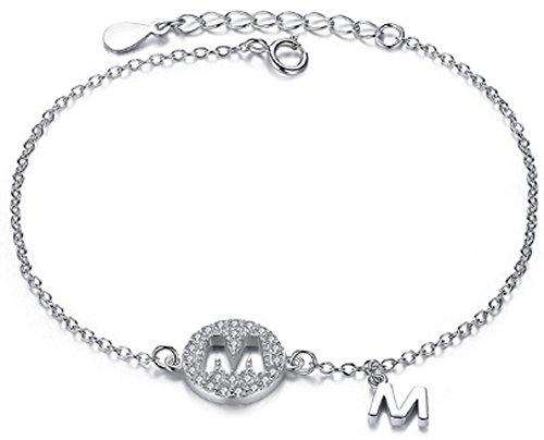 SaySure - 925 Sterling Silver Letter M Charm Bracelets