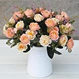 SLB Works Brand New 2 Bunches Artificial Roses 5-Branch Silk Flowers DIY Home Garden Deco-Orange
