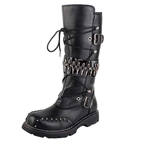 SHANLY Mens Short Bein Halbe Länge Gummistiefel Wasserdicht Mittlere Kalb Stiefel Side Zip Cowboy Stiefel Cosplay Film Kostüm Halloween,Black-39