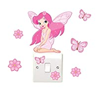 Fairy Flower & Butterfly Light Switch Wall Stickers Children