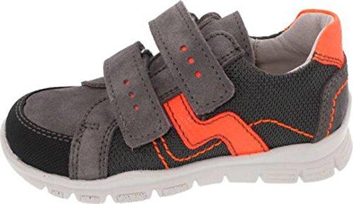 Däumling Sneaker, Jungen Schuhe, Halbschuhe, Lederschuhe, Klettschuhe grau-orange (Turino smoked)
