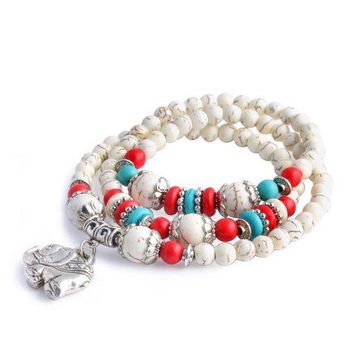 merida-cremefarbene-turquoise-imitation-rote-koralle-runde-beaded-elephant-bracelet