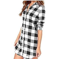 Vococal - Solapa Casual Camisa Cuadros Blusa de Manga Larga para Mujer,Color Negro + Blanco L