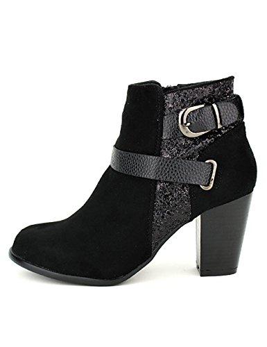 Cendriyon Bottine Noire Daim Carolina Chaussures Femme