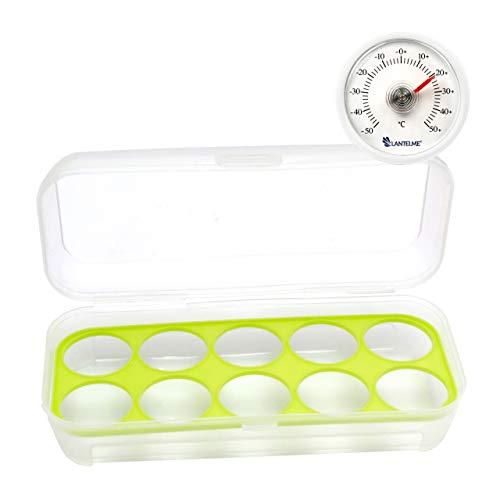 Lantelme 6572 Eierhalter und Kühlschrankthermometer Set - Kühlschrank Thermometer Analog und Eierbox für 10 Eier