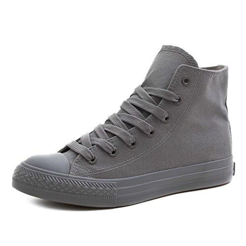 Klassische Unisex Damen Herren Schuhe Low High Top Sneaker Turnschuhe Grau 37