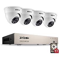 ZOSI 1080P HD Video Überwachungssystem 4CH 1080P HDMI DVR Recorder mit 4 Außen 2.0MP 3000TVL Weiß Dome Überwachungskamera Set 1TB Festplatte, 20M IR Nachtsicht