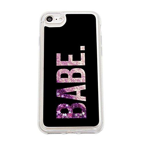 finoo | Iphone 7 Flüssige Liquid Lila Glitzer Bling Bling Handy-Hülle | Rundum Silikon Schutz-hülle + Muster | Weicher TPU Bumper Case Cover | Tweety Happy Babe Black