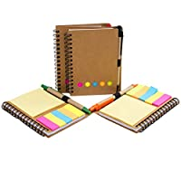 4 Pack Spiral Notebook Kraft Paper Cover Notepad Journal with Pen in Holder + Sticky Notes + Colored Index Page Markers Tabs Flags, Spiral Wire Bound for Work, Home or Holiday