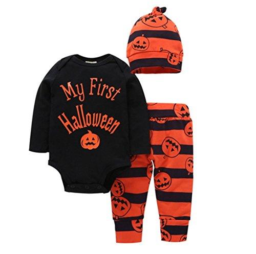 LnLyin 7-teilig Kinderkleidung Halloween Kürbis Baumwolle Buchstaben gedruckt Jeans + Hose + Hut (Mal Kostüm Bilder)