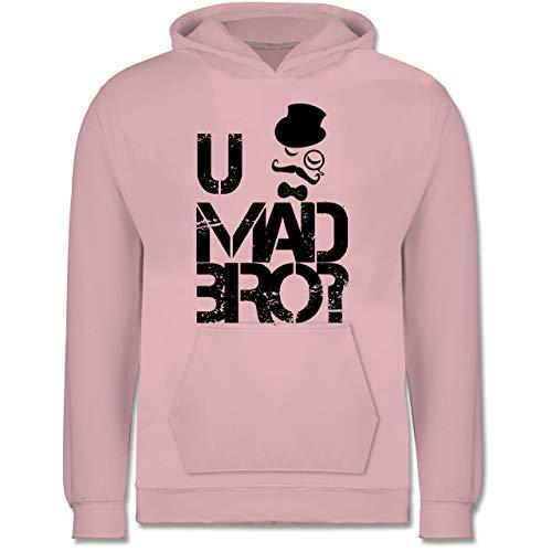 Shirtracer Up to Date Kind - U MAD BRO? - 12-13 Jahre (152) - Hellrosa - JH001K - Kinder Hoodie