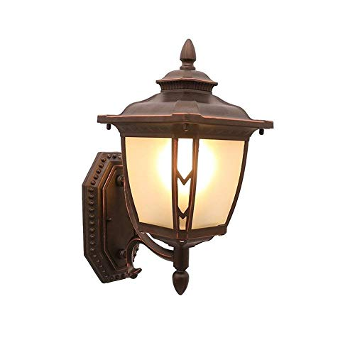 Songdizai 1-Light Outdoor Außenwand Up/Down Laterne, E27 Traditionelle Veranda Wasserdicht IP55 Garten Licht Verzierte Terrasse Innen Außen (Braun) (Größe: Up) -