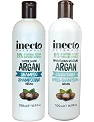 Inecto Naturals Super Shine Argan Shampoo & Conditioner 500ml each - 90% Natural & Not Tested on Animals.Vegan friendly.