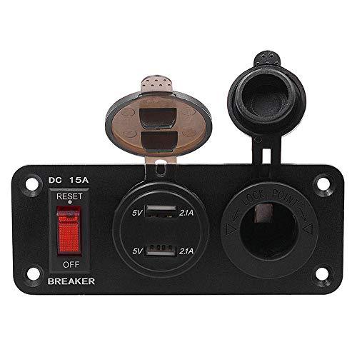 Krystallove Auto Dual USB Socket Charger, Mittelkonsole Ausschalter + Zigarettenanzündersitz + 4.2A mit Voltmeter USB, für Auto Boot Marine RV Truck Camper Fahrzeuge GPS Mobiles (Truck Camper Klemmen)