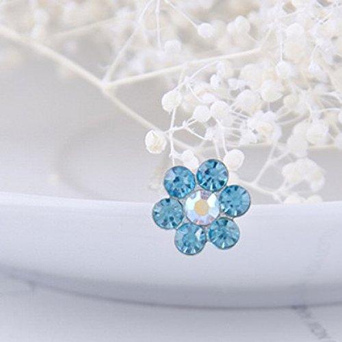 Tinksky 10 femmes de mariée Bling Strass en cristal en métal en forme de U pinces à cheveux – Taille S (lac bleu)