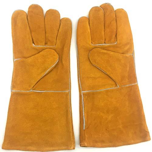 Ywlanlantrading Handschuh Schweißhandschuhe - Hitzebeständig und verschleißfest - Für Wig/Mig-Schweißer/Kamin/Grill/Garten/Grillen/Herd (14 Zoll, Gold) (Color : Gold, Size : L-Ten Pairs) -