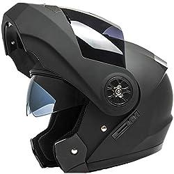wthfwm Cascos de Moto para Hombre, de Cara Completa, abatibles, Cascos de Moto, antivaho, Doble Visera, Gorra de Seguridad para Adultos,A-54/59cm