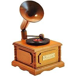SJMM Gramófono de madera VINTAGE Caja de música caja de música piano niños novia regalo de cumpleaños,Log gramófono