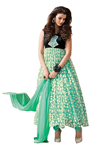 Clickedia Women's & Girl's Heavy Net & Brasso Cream & Pink Anarkali Suit With Dupatta  available at amazon for Rs.499