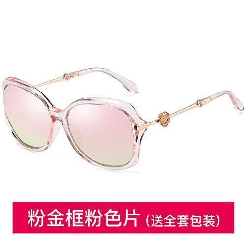 Sunyan Hochglanz Sonnenbrille rundes Gesicht Sonnenbrille Frau Tide Square Gesicht Retro, pink Gold Box pink Polarisator