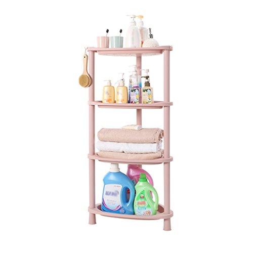 WSGZH 4-stufige Aufbewahrungsregale Pink Collation Frame Große offene Triangle Basket Kunststoff Badezimmer Corner Stacks Landing Kitchen Removable Gemüsegestell