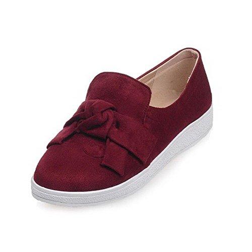 AgooLar Damen Niedriger Absatz Rein Ziehen Auf Rund Zehe Pumps Schuhe Rot